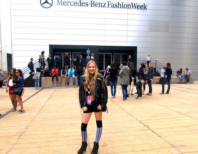 Pretty model and singer  Mozart in NYC at Mercedes- Benz Fashion Week