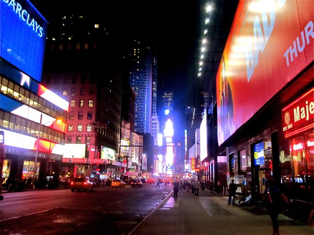 Colorful NYC or New York City at night