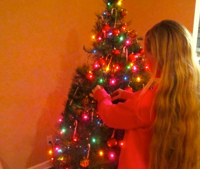 Teen singer Mozart decorating our Christmas tree