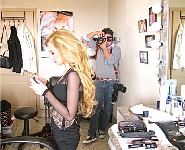 Blonde teen Mozart buffing nails at photo shoot & makeup session