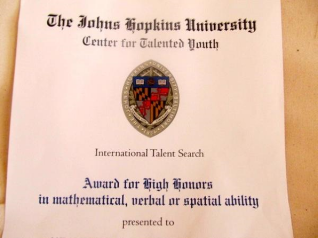 Traveler and singer Mozart gets High Honors award from Johns Hopkins University CTY