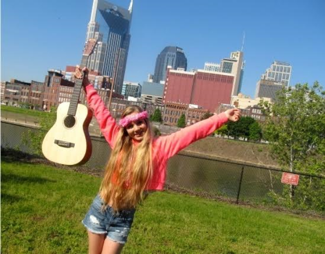 Road Trip Across USA - singer Mozart in Nashville with her Martin guitar