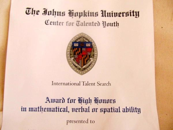 Mozart Wins High Honors Award from Johns Hopkins University! JHU- CTY  road trip