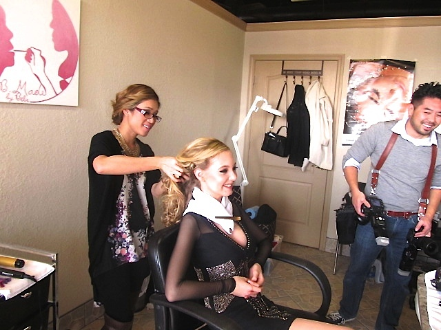 teen singer Mozart, Bebe Tran & David Loi in makeup studio