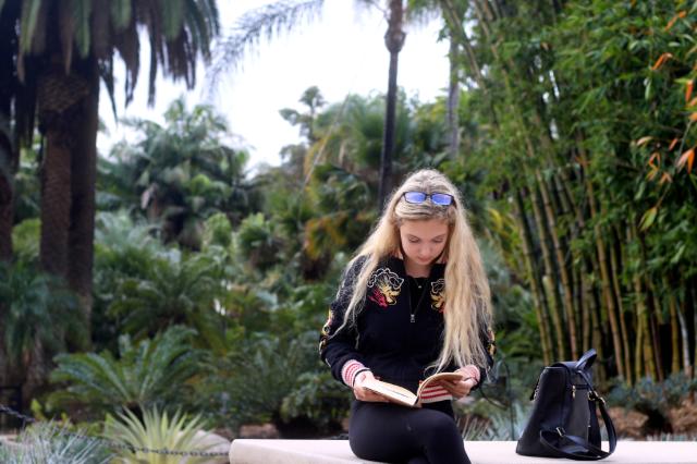 Actress/singer Mozart Dee Visiting the Huntington Botanical Gardens in Pasadena