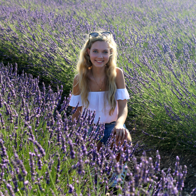 Actress and singer Mozart Dee in lavender field in Provence