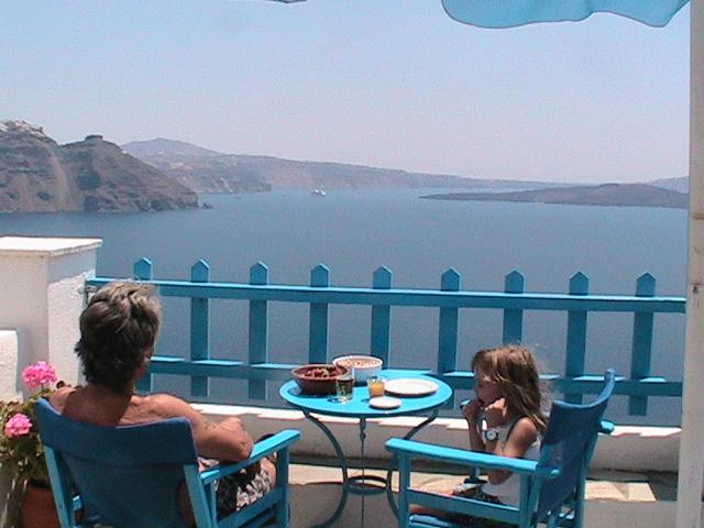 Santorini, Greece relaxing as a family
